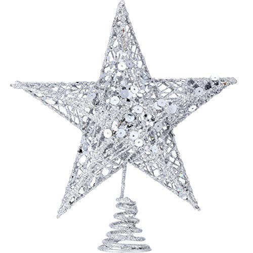(Bememo 8 Inches Exquisite Shimmery Christmas Tree Topper Star Tree Topper for Christmas Tree Decoration (Silver))