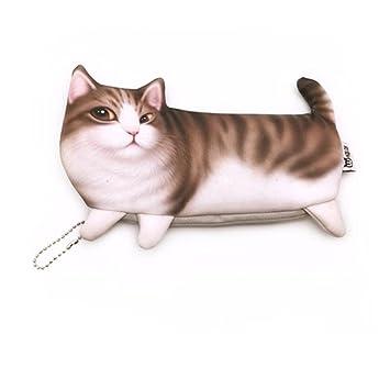 Estuche para lápices de gatos con cremallera para emulación, gran capacidad, bolígrafo creativo y bonito estuche de papelería: Amazon.es: Belleza