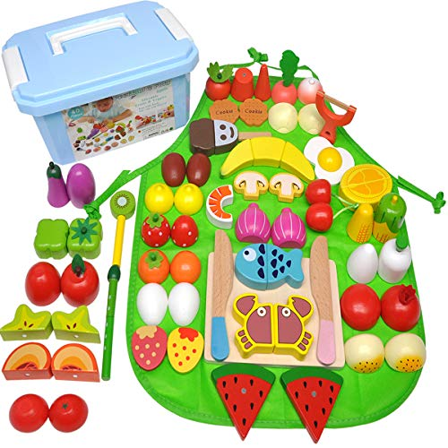 GYBBER&MUMU Play Food Set 40 Pieces,100% Wood Play Kitchen Set Pretend Food Playset Toys