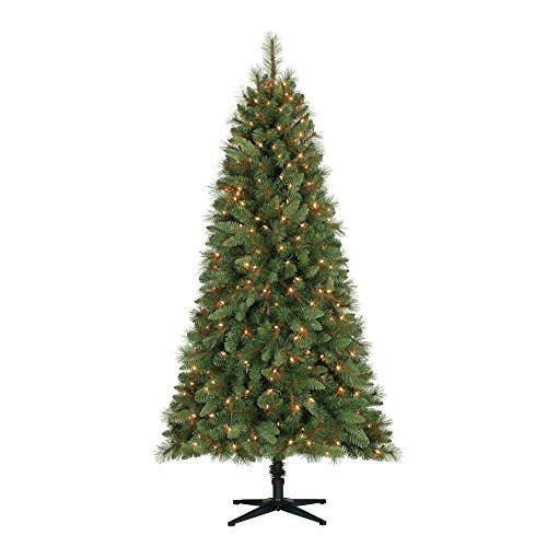 Home Heritage 6.5 Foot Crestwood Pine Christmas Tree with Clear Lights and Stand Pine Christmas Trees