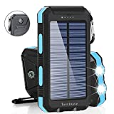 Solar Charger Solar Power Bank 20000mAh Waterproof Portable External Backup Outdoor Cell Phone Battery Charger with Dual LED Flashlight Solar Panel for iPhone Android Cellphones (Black & Blue)