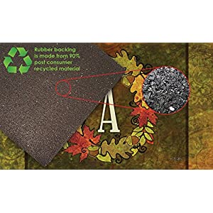 Toland Home Garden Fall Wreath Monogram A 18 x 30 Inch Decorative Autumn Floor Mat Colorful Leaves Doormat 6