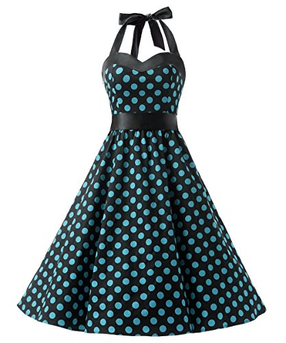 DRESSTELLS 50s Retro Halter Rockabilly Polka Dots Audrey Dress Cocktail Dress Black Blue Dot 3XL -
