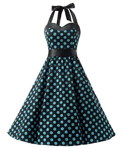 DRESSTELLS 50s Retro Halter Rockabilly Polka Dots Audrey Dress Cocktail Dress Black Blue Dot 2XL