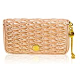 Valentino Orlandi Italian Designer Metallic Quilted Leather Ziparound Wallet Clutch