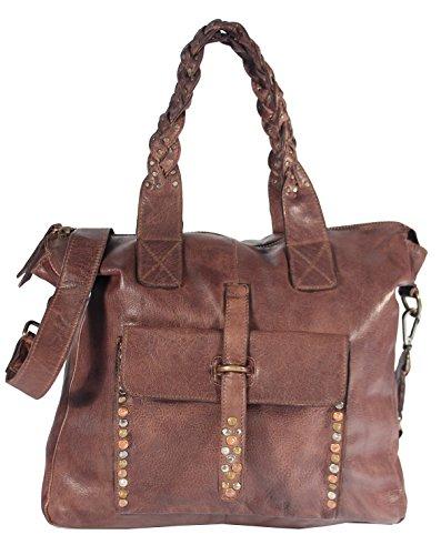 Indiga - Vintage Leder Schultertasche Used-Look Nieten Damen MEDITERRAN URBAN BAG Handtaschen Schultertaschen Henkeltaschen Beuteltasche 35x31x9 cm (B x H x T), Farbe:braun