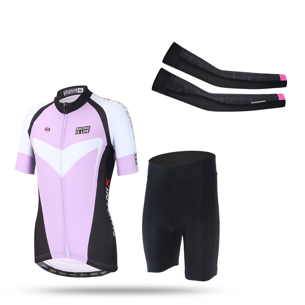 Ophelia Women Short Sleeve Cycling Jersey Pant Set+arm Sleeves(Purple 2,S) by Ophelia Outdoor