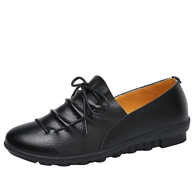 91824d2a0f Women's Spring Summer Flat Leather Shoes Casual Ankle Shoes Comfortable  Breathable Lace-up Outdoor Sneakers