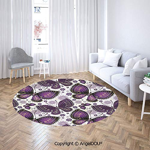 Butterfly Rug Paisley (AngelDOU Printed Soft Boys and Girls Round Area Rug Ethnic Asian Butterflies with Paisley Motif on Wings Flowers Art Print Decorative for Bedroom Dormitory.)