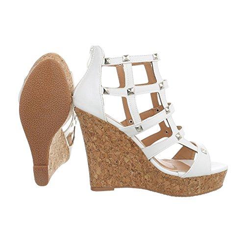 Ital-Design Women's Sandals Wedge Heel Wegde Sandals at White 6661 yPf8wds3