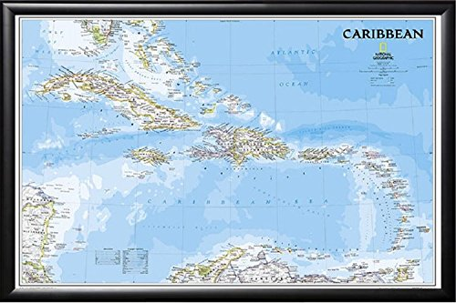 Poster Art House Framed National Geographic - Caribbean Islands 24x36 Map Dry Mounted in Real Wood Black Finish Crafted in USA