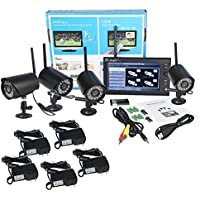 Magicfly Digital Wireless DVR Security System, SD Card Recording with 7 Inch LCD Monitor, 4 Long Range Night Vision Cameras (Black)