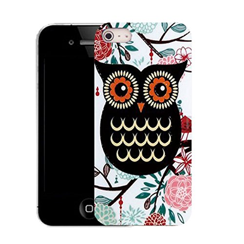 Mobile Case Mate IPhone 4 clip on Silicone Coque couverture case cover Pare-chocs + STYLET - pink feathered owl pattern (SILICON)