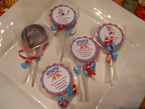 12 Dr Seuss Cat In the Hat Thing 1 2 Gourmet Chocolate (Custom Chocolate Lollipops)