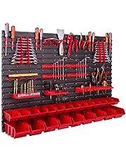 Opslagsysteem wandrek 115x78 cm, gereedschapshouders, 23 stuks. Stapelboxen, opbergkast, extra sterke wandplaten, uitbreidbaar, werkplaatsrek, opbergrek, werkplaatswandrek St