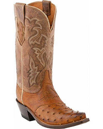 Lucchese Classics Women's M5603 Boot,Tan Burnished Full Quill Ostrich/Camel Tan Tucson Calf,9.5 B (M) US