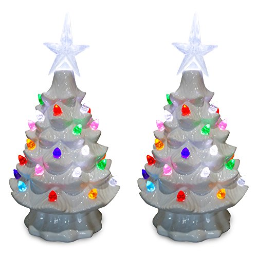 ReLIVE Christmas Is Forever Lighted Tabletop Ceramic Tree (7-Inch, White Tree/Multi Color Lights (Set of 2))