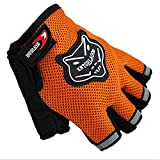 kids bike gloves - Cloulds_Zone Kids Boys Girls Bike Gloves for Powerlifting, Weight Training, Biking, Cycling - Gym Sports Workout Half Finger Gloves for Ages 8-12 Years Old (Yellow)