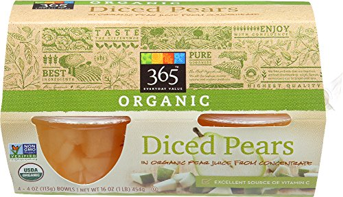 365 Everyday Value, Organic Diced Pears, 4 oz, 4 ct (Dole Pears)