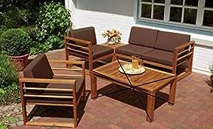 Dreams4Home Lounge Grupo 'Piper'–Juego de 5, Lounge Set, mesa pequeña, taburete, sofá, sillón, incluye acolchado, Consul Garden Muebles, muebles, muebles, muebles de jardín de balcón, terraza, Exterior, Jardín De Invierno, en marrón, madera de acacia