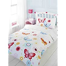 BUTTERFLIES FLOWERS FLORAL RED BLUE WHITE COTTON BLEND CANADIAN FULL (200CM X 200CM - UK DOUBLE) DUVET COMFORTER COVER