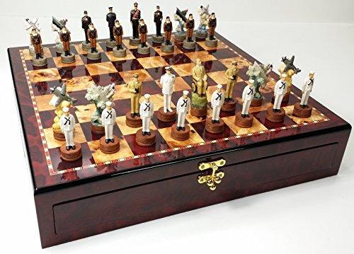WW2 Pearl Harbor US vs Japan Chess Set High Cherry & Burlwood Color Gloss Storage Board 17
