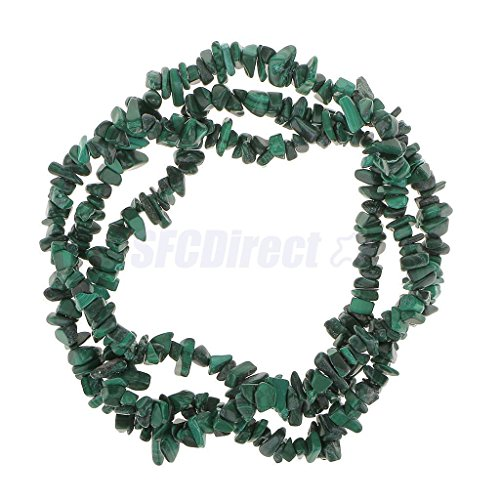 Natural Green Malachite Chip Gemstone Loose Beads 36in. - Green Malachite Chip