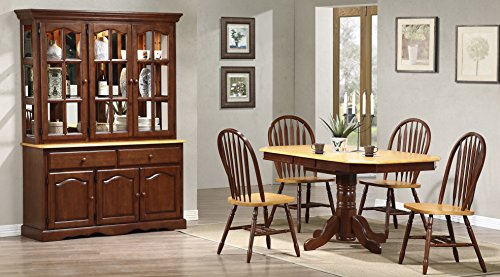 - Sunset Trading 6 Piece Clipped Edge Pedestal Extension Dining Set with China Cabinet