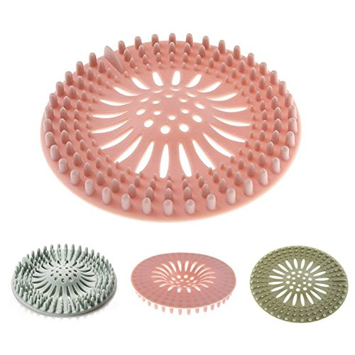 Maberry Shower Drain Covers Hair Catcher, Rubber Hair Stopper Sink Strainer Universal Drain Cover Silicone Filter for Kitchen Bathroom and Bath tub (3 Pack)