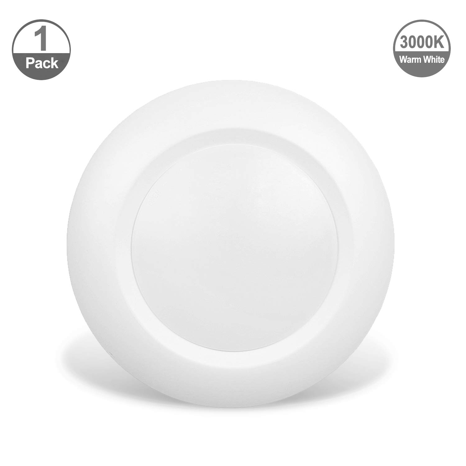 JULLISON 4 Inch LED Low Profile Recessed & Surface Mount Disk Light, Round, 10W, 600 Lumens, 3000K Warm White, CRI80, DOB Design, Dimmable, Energy Star, cETLus Listed, 1 Pack(White) … …