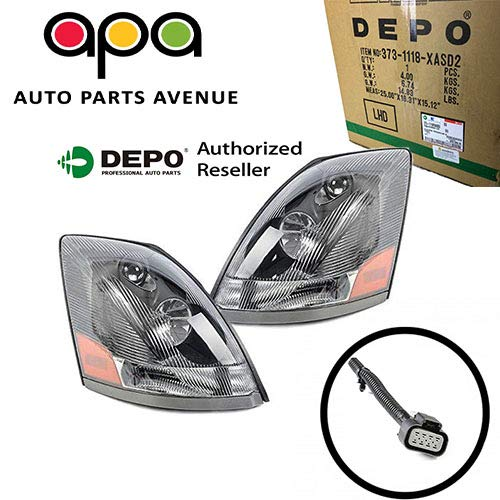 - Volvo 04 - 15 VN VNL VNM Truck 200 300 430 630 670 730 780 Head Light Pair Set