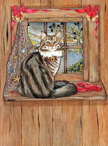 Maine Coon Cat Christmas Cards : 10 Holiday Cards with Red Envelopes - ADORABLE!