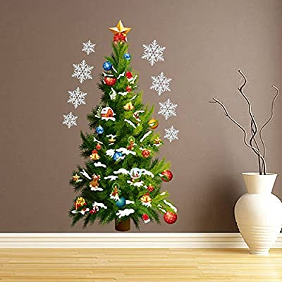 VanBest Green Christmas Tree and Stars Wall Sticker Removable Wallpaper DIY Home Living Room Bedroom Window Christmas Mural Art Decoration