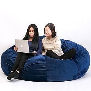 Harper&Bright Designs 6 Foot Bean Bag Chair Big Sofa with Soft Cotton Cover Foam Filled Bean Bag (Blue)
