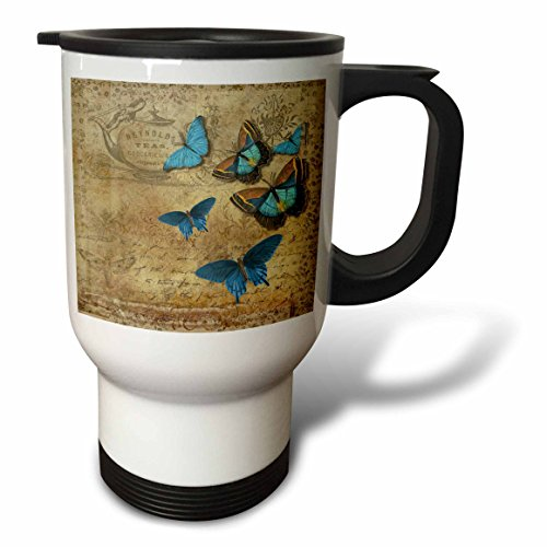 3dRose Butterfly Art - Image of Six Blue Butterflies On Antique Paper - 14oz Stainless Steel Travel Mug (tm_281630_1) by 3dRose