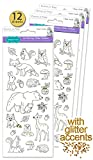 Set of 12 - Color Your Own Stickers - Heavyweight Paper with Glitter Accents - Woodland Creatures - Woodland Animals - Craft Kit for Kids - Boys & Girls Crafts - Adult Coloring Stickers - Value Pack