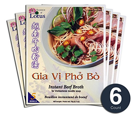 Essence of Lotus Instant Pho Broth For Vietnamese Noodle Soup (Beef Pho Mix, 6-Pack)