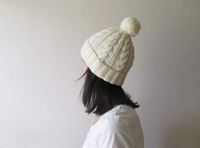 ff5b5decb Amazon.com: Cable Knit Hat in Light Cream, Womens Pom Pom Hat, Hand ...