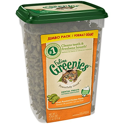 FELINE GREENIES Dental Cat Treats Oven Roasted Chicken Flavor, 11 oz. Tub from Greenies
