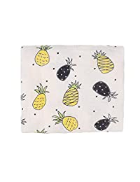 Miracle Baby Bamboo muslin Blanket Silky Soft Swaddle Wrap Newborn Receiving Blanket Stroller Nursing Cover 47''x 47''(Yellow Pineapple)