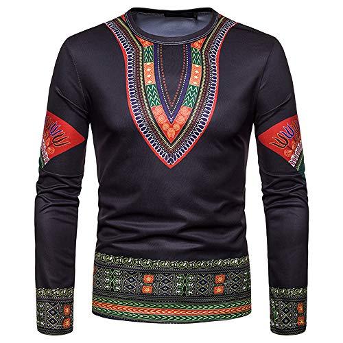 Toimothcn Men's Dashiki Tops African Ethnic Print Shirt Long Sleeve O-Neck Sweatshirt Pullover Top Blouse(Black1,S) ()