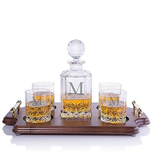 Personalized Crystalize Cut Crystal Whiskey Liquor Decanter and 4 Rocks DOF Glasses with Walnut Serving & Presentation Tray with Brass Handles Engraved & Monogrammed - Great Holiday & Christmas Gift!