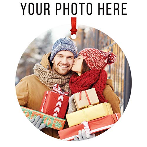Ornaments Grandparents Personalized - Andaz Press Fully Personalized Round Metal Christmas Ornament, Your Photo Here, 1-Pack, Includes Ribbon and Gift Bag, with Custom Photo Keepsake for Grandparents Godparents Mom Dad Kids Pictures