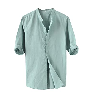 Zimaes-Men Plus-Size Cotton Linen Stand-up Collar Dress Shirt