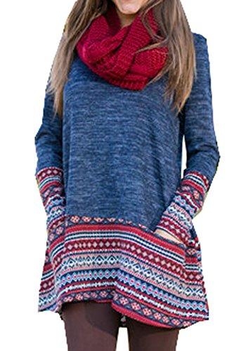 Damen Herbst Winter Reizvolle Langarm Loose Minikleid Lässig Druckkleider Blusenkleider Lange Blusen (EU36(S), Dunkelblau)