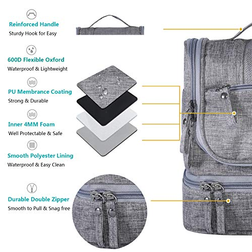HOKEMP Toiletry Bag Travel Waterproof Cosmetic Bag Multifuncation Organizer Bag Portable Makeup Pouch - Gray by HOKEMP (Image #1)