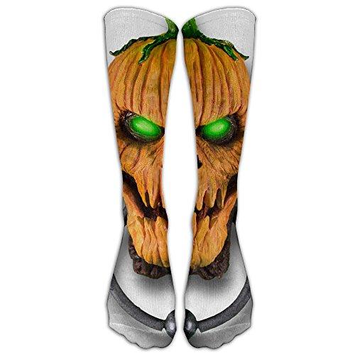 Yellow Pumpkin With Green Eyes Art Compression Socks Fashion Simple Elastic Stockings -