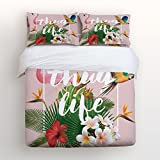 Libaoge Pink Flamingo and Parrot 4 Piece Bed Sheets Set, Thug Life Tropical Palm Leaves and Flowers Green Illustration Art, 1 Flat Sheet 1 Duvet Cover and 2 Pillow Cases