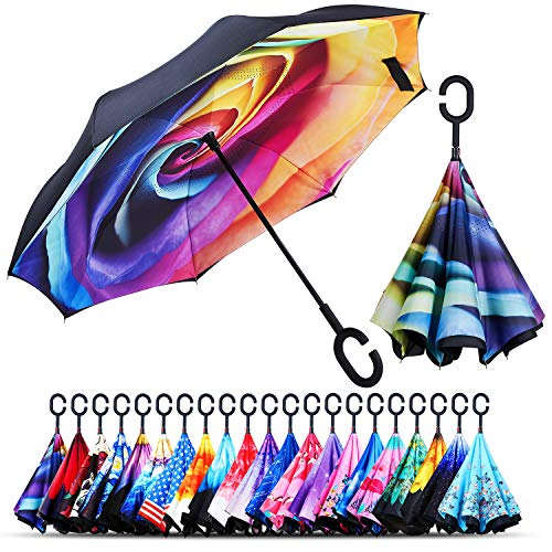 Owen Kyne Windproof Double Layer Folding Inverted Umbrella, Self Stand Upside-Down Rain Protection Car Reverse Umbrellas with C-Shaped Handle (Rainbow Rose)