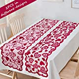 90shine 2PCS Valentines Day Decorations Table Runners Romantic Lace Heart Centerpieces Wedding Party Decor Supplies